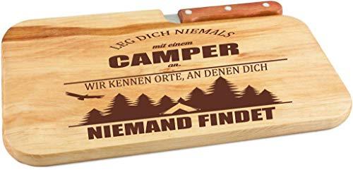 41R1WNQcLQL Beschdstoff/Schneidebrett mit Messer und Branding/Camping/Größe 26 x 15 x 12 cm Holz Brettchen