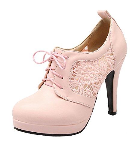 YE Damen Cut Out Pumps Stiletto Geschlossene High Heels mit Spitze und Schnürung Elegant Kleid Schuhe Rosa