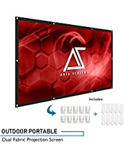 Akia Screens 120 inch Indoor Outdoor Collapsible Portable Projector Screen 16:9 Anti-Crease Foldable Dual Front Rear Retractable 8K 4K Ultra HD 3D Ready Movie and Home Theater AK-DIYOUTDOOR120H1