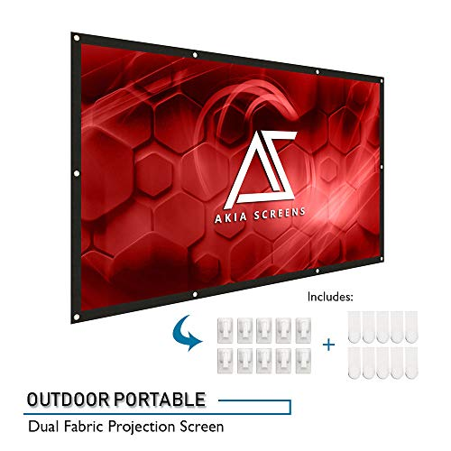 (AKIA SCREENS 120 inch Indoor Outdoor Collapsible Portable Projector Screen 16:9 Anti-Crease Foldable Dual Front Rear Retractable 8K 4K Ultra HD 3D Ready Movie Theater Home Theater AK-DIYOUTDOOR120H1)