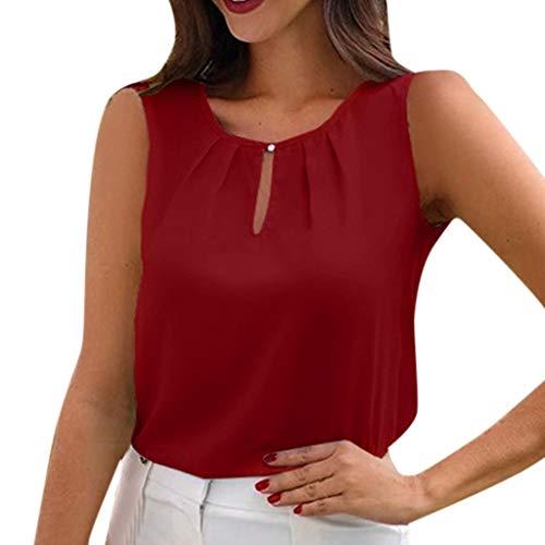 XINHUXIN Women Causal Soild Tank Tops Pleated Hollow Round Neck Camisole Vest Top Sleeveless Camis Blouse ()