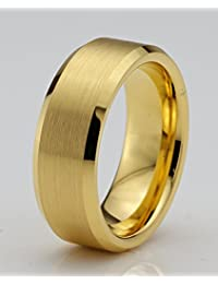 Tungsten Wedding Band Ring 8mm for Men Women Comfort Fit 18k Yellow Gold Beveled Edge Brushed Lifetime Guarantee