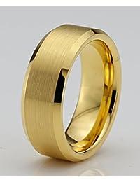 Tungsten Wedding Band Ring 6mm for Men Women Comfort Fit 18k Yellow Gold Beveled Edge Brushed Lifetime Guarantee