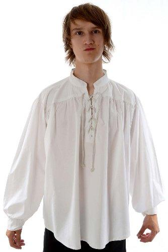 Hemad.De - Chemise Médiévale De Pirate A Laçage En Pur Coton - Blanc - Xxxl