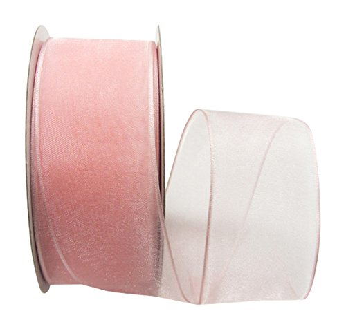 (Ribbon Bazaar Wired Sheer Organza 1-1/2 inch Light Pink 25 Yards Ribbon)