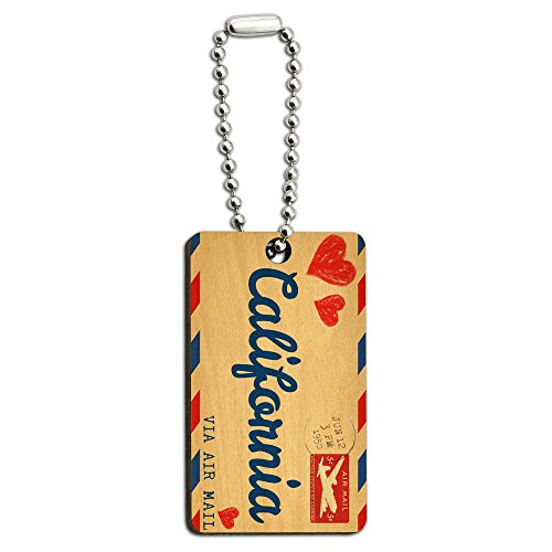 Air Mail Postcard Love for California Wood Wooden Rectangle Key Chain