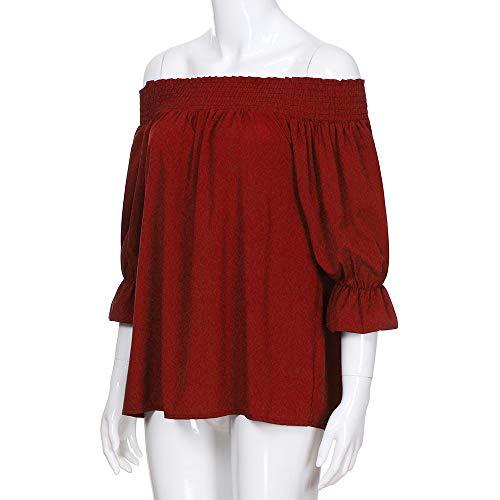T Bouffantes paules Bandage Dnudes Rouge Femmes Shirts Manches Innerternet Longue Manches Blouse Chemisier HpwEIqxv