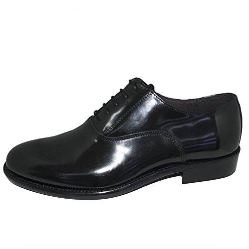 Scarpe uomo stringate francesine blu vera pelle lucida abrasivata nappe fondo cuoio nero genuine leather made in italy linea man