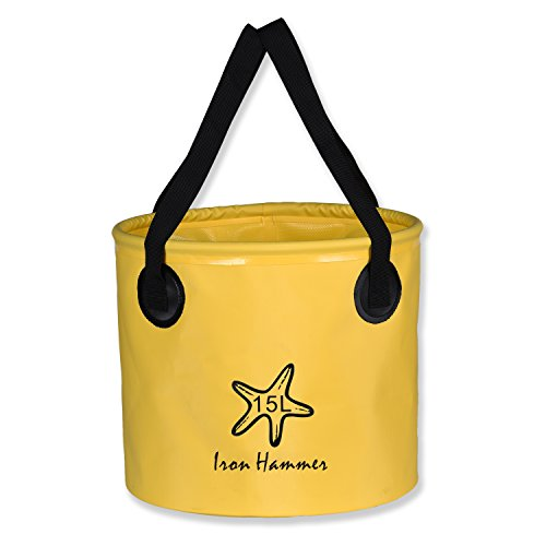 [Compact Collapsible Bucket Portable Folding Water Container for Fishing Camping Hiking Travel - Available In Multiple Colors & Sizes (20L, Yellow)] (Mop And Bucket Costume)