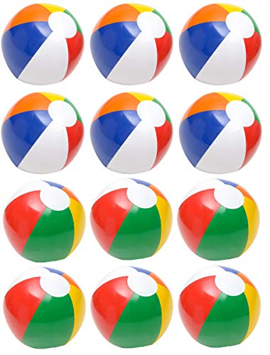 (4E's Novelty Inflatable Beach Balls Pack of 12 Bulk Large 16-inch, Summer Beach & Pool Party Supplies, Beach Ball for Kids Toddlers Boys)