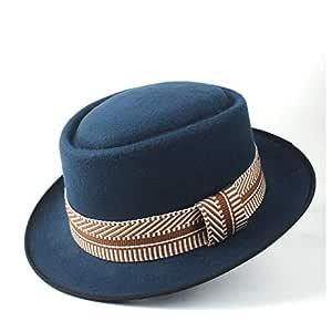 2019 Mens Womens Hats Unisex Men Women Flat Top Pop Church Soft Autumn Winter Flat Top Hat Winter Wide Brim Hat Friend Party Hat Trilby Fedora Hat (Color : Army Green, Size : 58)
