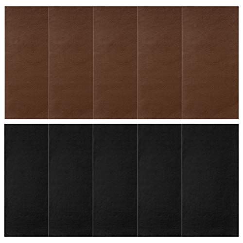 Petift 10 Pieces Leather Repair Patch,Self-Adhesive Leather & Vinyl Adhesive Backing Patches Kit,3.9 by 7.9 inch,First-aid for Couch,Furniture Sofas,Car Seats, Handbags,Jackets(Black+Dark Brown)