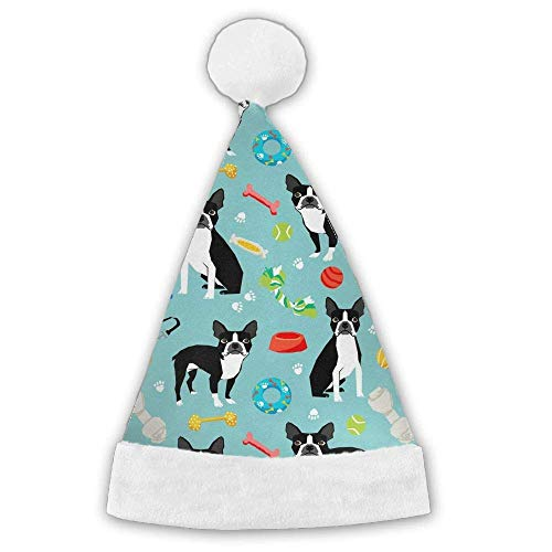 Boston Terrier Toys Dog Xmas Christmas Christmas Santa Hat Holiday Theme Hats 3D Graphic Printed for Adults and Children