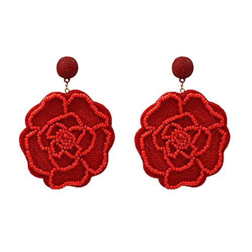 MONISE- Jewelry Rice Beads Earrings for Women Girls Geometric Texture Lotus Pattern Drop Earring(red)