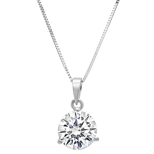 Clara Pucci 2.0 CT Brilliant Round Cut Simulated Diamond CZ 14K White Gold Martini Solitaire Pendant Box Necklace 18