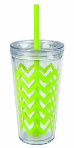 Copco 2510-0434 Minimus Double Wall Insulated Tumbler with Removable Straw, 24-Ounce, Chevron Lime (Lime Cup)