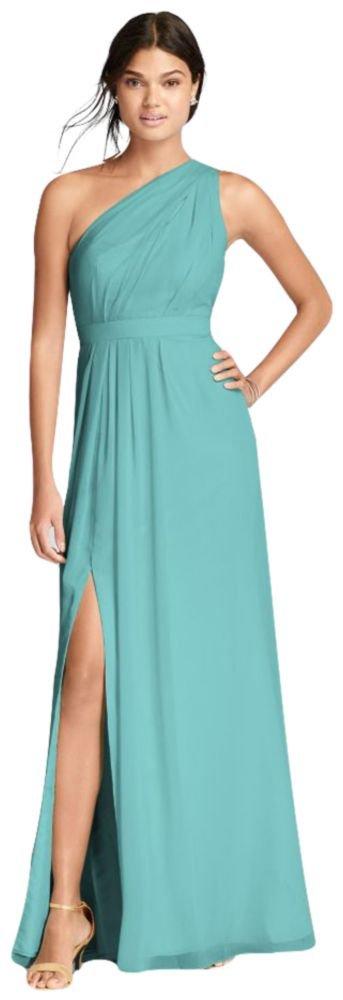 David's Bridal Long One-Shoulder Crinkle Chiffon Bridesmaid Dress Style F18055, Spa, 22