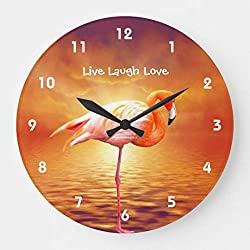 Moonluna Live Laugh Love Pink Flamingo Beach Nursery Wooden Wall Clock Battery Operated Roman Numerals Silent Non-Ticking 14 Inches Kids Clock