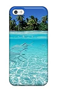 For Iphone 5/5s Tpu Phone Case Cover(fishes Underwater On A Tropical Beach 3960)