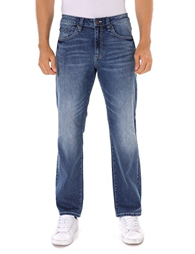 Indigo alpha Relaxed Tapered Fit Faded Wash Blue Denim Jeans for Men(8019,W40/L30) ()