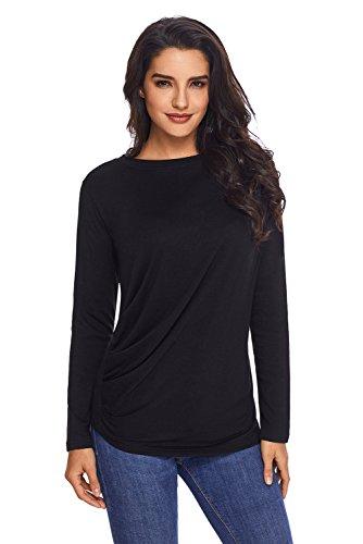 Neuf Noir drapé col rond T-shirt à manches longues Blouse de soirée pour femme Tenue décontractée dété Taille UK 8EU 36