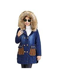 Kids Big Girls Winter Hooded Fur Collar Thick Denim Jacket Coat Outwear