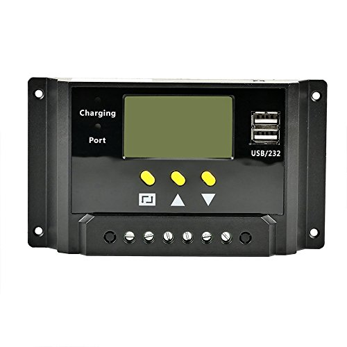 ETvalley 30A Solar Charge Controller Regulator 12V/24V 360W/720W PWM Intelligent Adapter Charge Controller with LCD Display, USB Ports, Wi-Fi Hotspot
