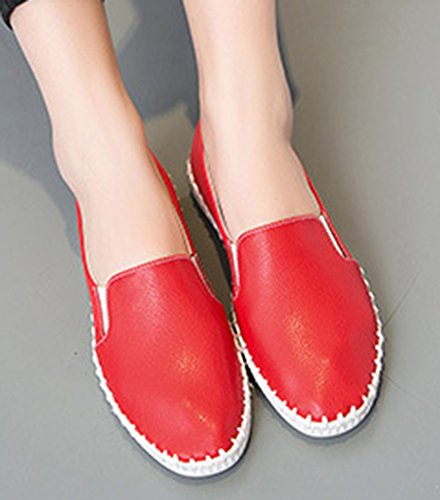 Heels Aisun Top Daily On Red Loafers Slip Wedge Women's Low XrXc4q