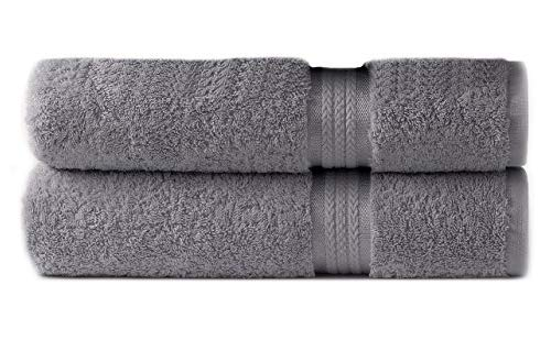 Cotton Craft – 2 Pack Ultra Soft Oversized Extra Large Bath Sheet 35×70 Charcoal – Weighs 33 Ounces – 100% Pure Ringspun Cotton – Luxurious Rayon Trim, Ideal for Everyday use – Easy Care Machine wash