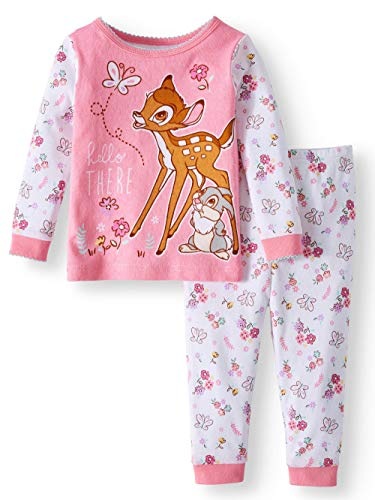 Disney Bambi Thumper Hello There 2 Piece Sleepwear Pajama Set,Pink,18 Months