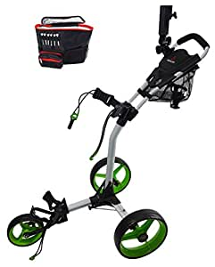Paragon 3-wheelie Folding 3 Wheel Golf Cart / Free Cooler Bag / Green, White
