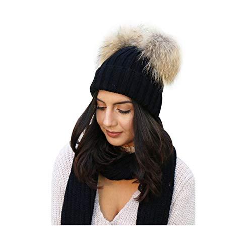Spiritlele Black Winter Beanie 2 Pompom Ball Knit Hat Fur Fluffy Warm Skull  Cap for Women bc51b9804c8