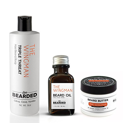 Beard Kit - True Beardsman (Beard Oil, Beard Butter, and Beard Wash) Cleans, Conditions, and Shapes Your Beard (Citrus, Clove, Vanilla - The Wingman)