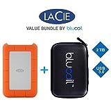 LaCie 2TB Rugged Mini Portable Hard Drive (9000298) USB 3.0 PLUS Blucoil Hard Drive Case - VALUE BUNDLE