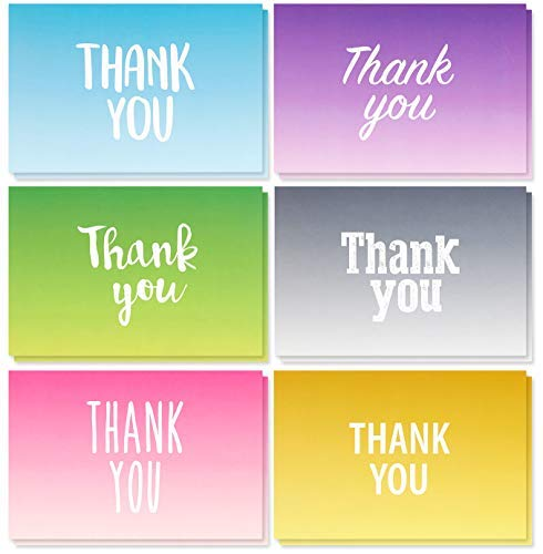 Thank You Cards - 48-Count Thank You Notes, Bulk Thank You Cards Set - Blank on The Inside, 6 Colorful Ombre Designs - Includes Thank You Cards and Envelopes, 4 x 6 Inches