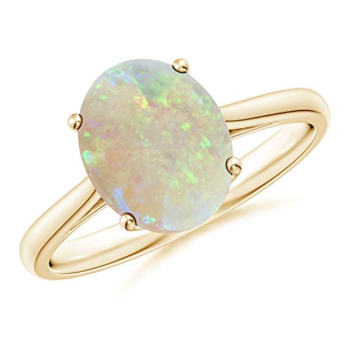 Oval Solitaire Opal Cocktail Ring in 14K Yellow Gold (10x8mm Opal) ()