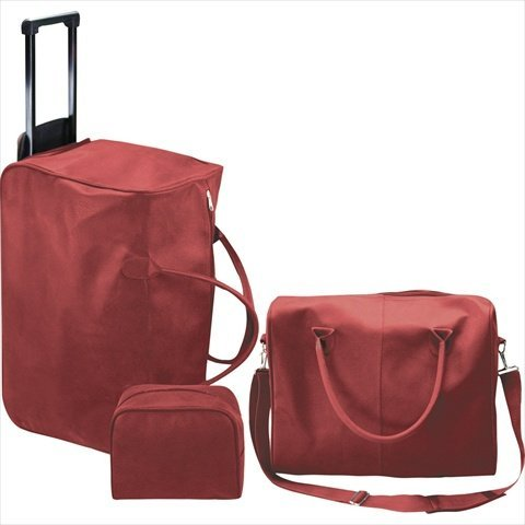 Manual Woodworkers and Weavers ILLGGR Ij Red Micro Suede 3 Piece Luggage Set Roll-On Traveler Carry On Micro Suede 19 X 10.5 X 14 in.