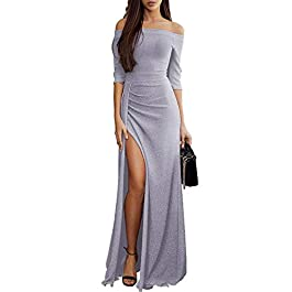 Aleumdr Womens Off Shoulder Long Sleeve Ruffle Party Slit Maxi Dress S-XL