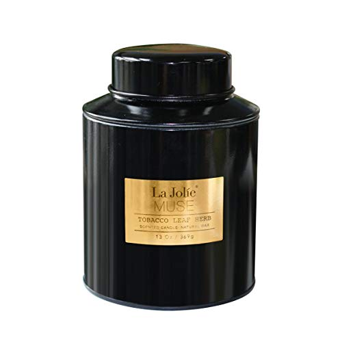 LA JOLIE MUSE Scented Candle Tobacco Leaf, Natural Soy Wax Black Metal Tin Gift for Thanksgiving