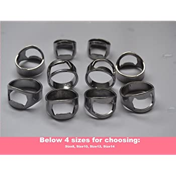 10pcs Set Silver Color Stainless Steel Beer Ring Bottle Opener with 4 Mixing Sizes: Size8, Size10, Size12, Size14