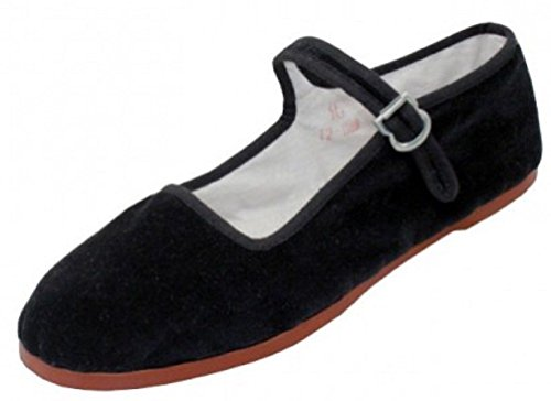 Easy USA Women's Cotton Mary Jane Shoes Ballerina Ballet Flats Shoes 118 Black