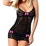 Seaintheson Women Lace Racy Underwear Sexy Bow Spice Suit Sleepwear Temptation Underwear Lace Nightdress Hot Pink