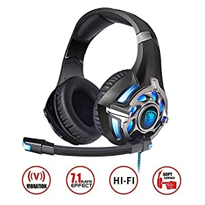 SADES PC Gaming Headset 7.1 Surround Stereo PC Pro USB, Over Ear Headset with High Sensitivity Mic Vibration ¡