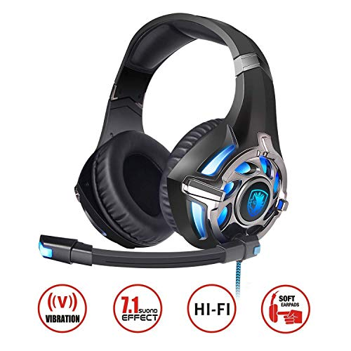 SADES PC Gaming Headset 7.1 Surround Stereo PC Pro USB, Over Ear Headset with High Sensitivity Mic Vibration ¡­ (Best Virtual Drive Program)