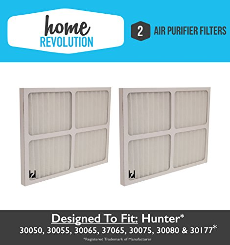 Hunter 30920 Home Revolution Brand Air Purifier Filter Replacement; Fits Hunter Models: 30050, 30055, 30065, 37065, 30075, 30080 & 30177 (2)