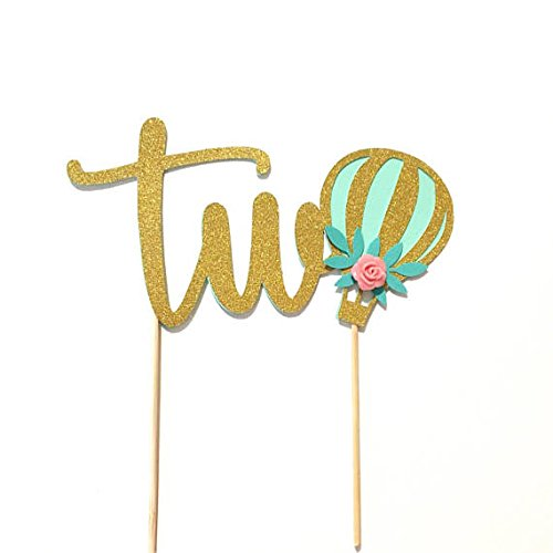 1-pc-two-hot-air-balloon-flower-rose-floral-Gold-Glitter-Cake-Topper-Toddler-boy-girl-second-Birthday