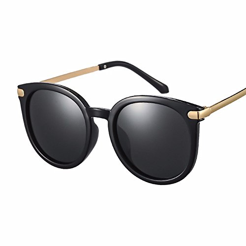 el gafas En gafas de XIAOGEGE sol Gafas oro chica la box en cara sol de moda big redonda espejo de Negro las zqEwdUKE