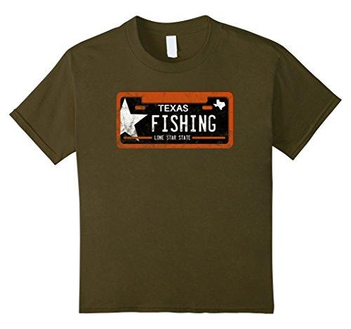 Kids Fishing Shirt Texas License Plate 6 Olive