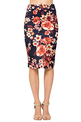 Junky Closet Women's Comfort Stretch Pencil Midi Skirt (Small, 2936GRAQ Navy Floral)