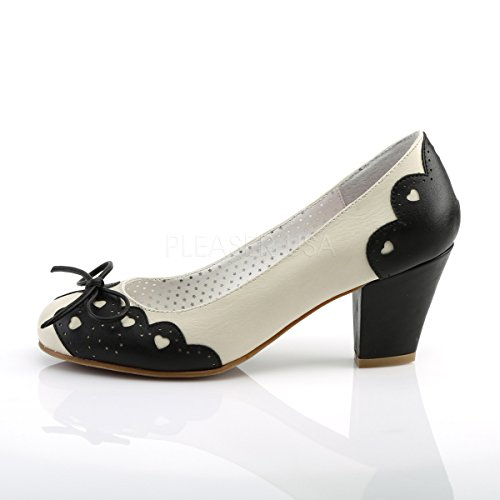 PinUp Couture Damen Pumps mit Herzchen Wiggle-17 schwarz/creme Schwarz-Creme